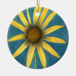 Yellow Flower with Petals Ceramic Ornament