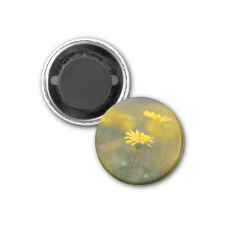 Yellow Flowers 1 Inch Round Magnet