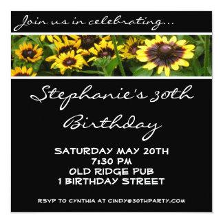 Yellow Flowers 30th Birthday Party Invitation