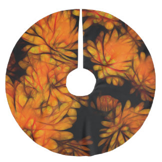 Yellow Flowers Abstract Brushed Polyester Tree Skirt