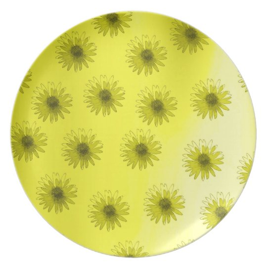 Yellow Flowers Abstract Dinner Plate