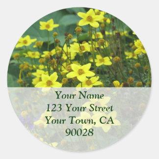 yellow flowers address labels