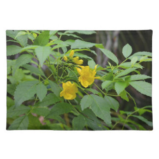 yellow flowers against green leaves placemats