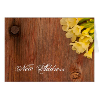 Yellow Flowers and Barn Wood New Address Card
