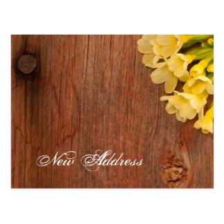 Yellow Flowers and Barn Wood New Address Postcard