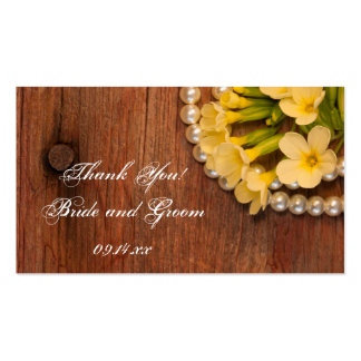 Yellow Flowers and Barn Wood Wedding Favor Tags Business Card