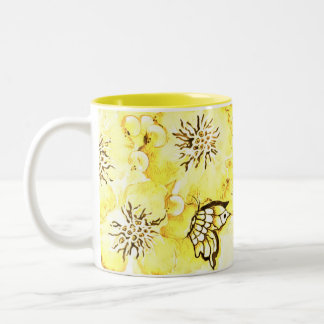Yellow  Flowers and Butterfly Coffee Mug