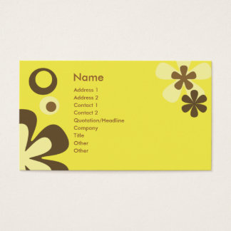 Yellow FLowers and dots Business Card