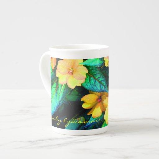 Yellow flowers and green leaves bone china mug