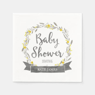 Yellow Flowers and Grey Leaves Wreath Baby Shower Paper Napkin