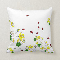 Yellow Flowers and Little Ladybugs Pillows