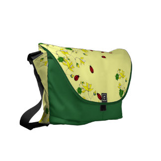 Yellow Flowers and Little Ladybugs Yellow and Gree Messenger Bag