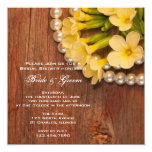 """Yellow Flowers and Pearls Country Bridal Shower 5.25"""" Square Invitation Card"""