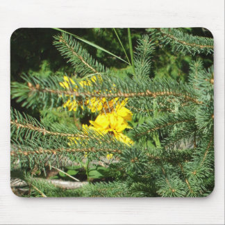 Yellow Flowers and Pine Tree Mouse Pad
