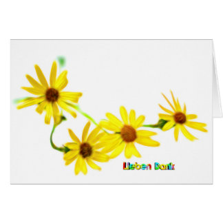 yellow flowers and text love thanks card
