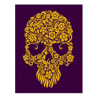 Yellow Flowers and Vines Skull Design on Purple Postcard