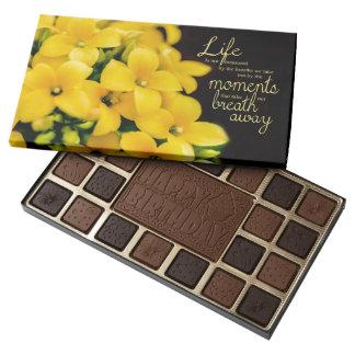 Yellow Flowers - Basket Of Gold Chocolates