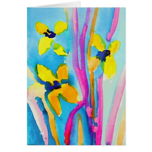 Yellow Flowers by Christina Miller, Age 9 Stationery Note Card
