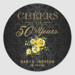 Hand shaped Yellow Flowers - Cheers to (Any Age) Years Classic Round Sticker