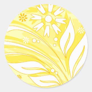 yellow flowers classic round sticker