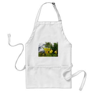 Yellow flowers closeup with mountains background adult apron