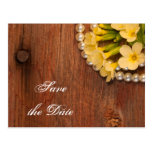 Yellow Flowers Country Wedding Save the Date Postcard