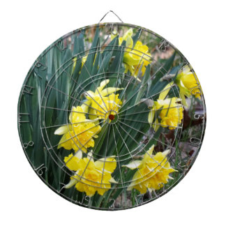 Yellow Flowers Dartboard With Darts