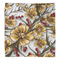 yellow flowers elegant floral print bandana