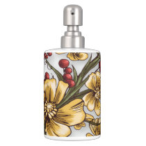 yellow flowers elegant floral print bathroom set