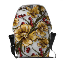 yellow flowers elegant floral print courier bag