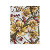yellow flowers elegant floral print fleece blanket