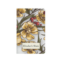 yellow flowers elegant floral print journal