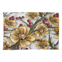 yellow flowers elegant floral print kitchen towel