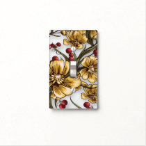 yellow flowers elegant floral print light switch cover