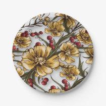 yellow flowers elegant floral print paper plate