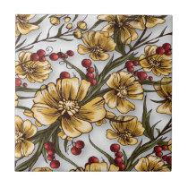 yellow flowers elegant floral print tile