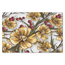yellow flowers elegant floral print tissue paper