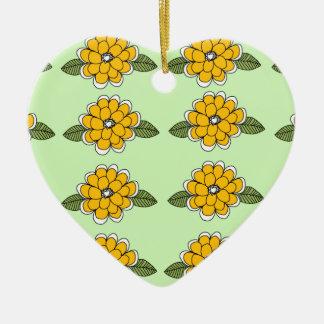 Yellow Flowers Green Ceramic Ornament