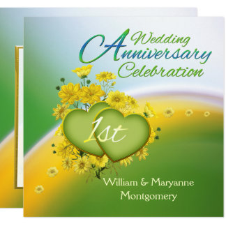 Yellow Flowers Hearts 1st Anniversary Party Card