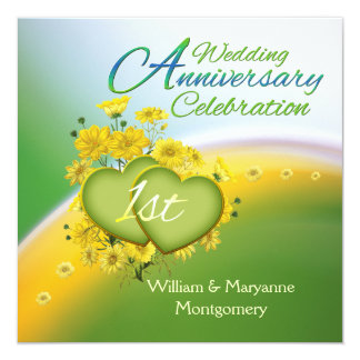Yellow Flowers Hearts 1st Anniversary Party Personalized Invites