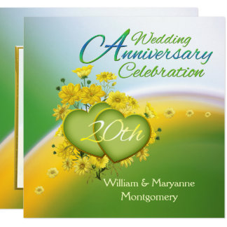 Yellow Flowers Hearts 20th Anniversary Party Card