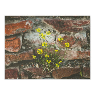 Yellow flowers in a brick wall personalized invites