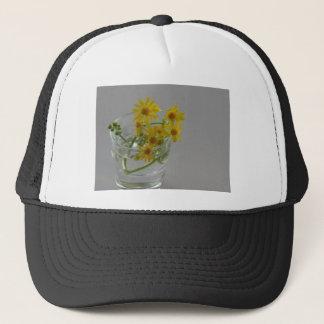 Yellow Flowers in a Glass Trucker Hat
