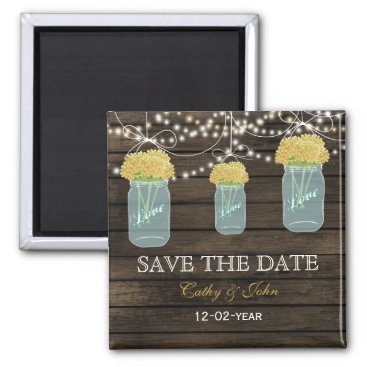 yellow flowers in a mason jar save the Date Magnet