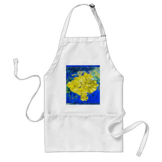 Yellow Flowers in Blue Lagoon gifts. Adult Apron