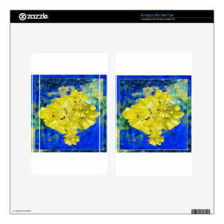Yellow Flowers in Blue Lagoon gifts. Decals For Kindle Fire