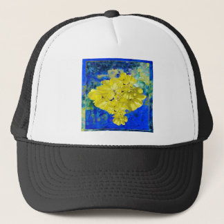 Yellow Flowers in Blue Lagoon gifts. Trucker Hat