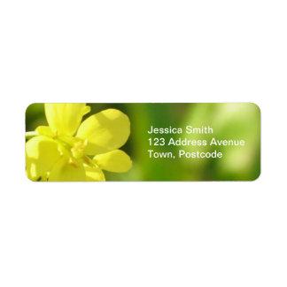Yellow flowers macro photography label