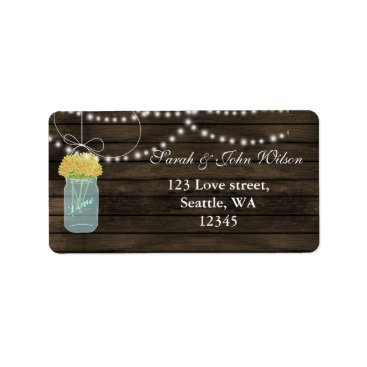 yellow flowers mason jar address label