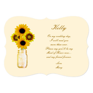 Yellow Flowers Mason Jar Maid Of Honor Card Personalized Invite